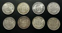 CANADA 50 CENTS SILVER COINS: GEORGE VI  LOT OF 8  1930S AND