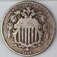 1866 SHIELD NICKEL WITH RAYS - SHARP DETAILS DOUBLEJCOINS 110623