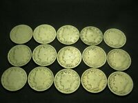 13 DIFFERENT 1900 - 1912  LIBERTY V NICKELS WITH 1912-D & 1883 NO CENTS 15 TOTAL