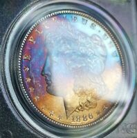 1886 MORGAN SILVER DOLLAR PCGS OGH MINT STATE 65 MONSTER VIBRANT RAINBOW TONED OBVERSE