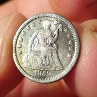 1852 SEATED LIBERTY HALF DIME VF/EXTRA FINE  DETAILS SILVER ANTEBELLUM TYPE COIN