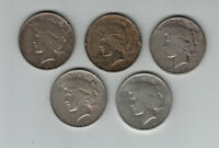 LOT OF 5 PEACE SILVER DOLLARS MIXED DATES & MINTS