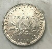 1918 FRANCE 1 ONE FRANC   NICE SILVER