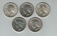 LOT OF 5 PEACE SILVER DOLLARS MIXED DATES 1926 1924 1923 BETTER GRADE