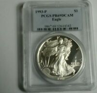 1993-P AMERICAN SILVER EAGLE PROOF DCAM PCGS PR69 SEE IT TO BELIEVE IT A125