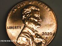 2020 D LINCOLN SHIELD CENT PENNY BU UNCIRCULATED
