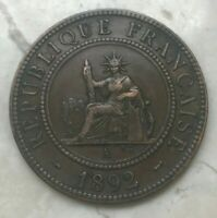 1892 FRENCH INDOCHINE INDO CHINA 1 ONE CENTIME   COPPER
