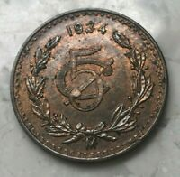 1934 MEXICO 5 CENTAVOS   COPPER UNCIRCULATED   SOME RED