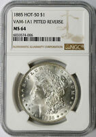 1885 HOT 50 $1 MORGAN DOLLAR VAM-1A1 PITTED REVERSE NGC MINT STATE 64