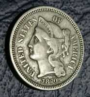 WELL DETAILED 1870 NICKEL THREE CENT PIECE COIN OLD AMERICAN