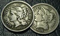 LOT  1870S NICKEL THREE CENT PIECE COINS 1871 1873 CLOSE 3 O