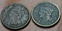 DATE RUN LOT 1848 1849 BRAIDED HAIR LARGE CENT COINS OLD AME