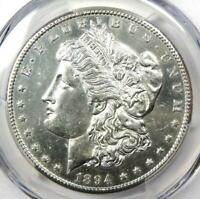 1894-S MORGAN SILVER DOLLAR $1 COIN. CERTIFIED PCGS UNCIRCULATED DETAIL MS UNC