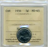 1956 CANADIAN NICKEL 5 CENT MS 65
