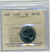 1957 CANADIAN NICKEL 5 CENT COIN MS 65