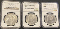 1878 7/8TF VAM-30 7/0TF MORGAN SILVER DOLLARS NGC MINT STATE 63 GRADED CERTFIED LOT OF 3