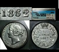20 CENTS 1862 NEW BRUNSWICK CANADA  BRIGHT REPUNCHED 8 AU 58