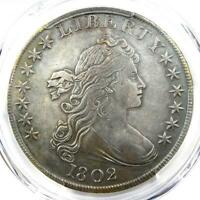 1802 DRAPED BUST SILVER DOLLAR $1 COIN. CERTIFIED PCGS EXTRA FINE  DETAIL EF.  DATE