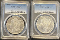 1885 O 1881 S PCGS MINT STATE 64PL MORGAN SILVER DOLLAR PROOF LIKE LOT OF 2 PL MS