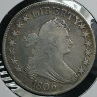1806 SILVER 50C DRAPED BUST HALF DOLLAR COIN   PAINTED 6 FULL STEM VARIETY