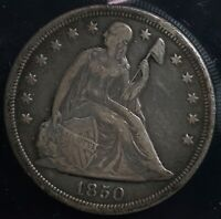 1850 SEATED LIBERTY SILVER S$1 ONE DOLLAR COIN