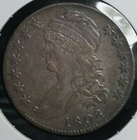 1808 SILVER 50C CAPPED BUST HALF DOLLAR COIN   ADAMS APPLE VARIETY