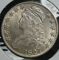 1827 SILVER 50C CAPPED BUST HALF DOLLAR COIN