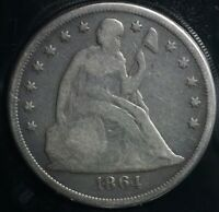 1864 SEATED LIBERTY SILVER S$1 ONE DOLLAR COIN