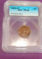 1921 S LINCOLN CENT GRADED  VF30  BY ICG