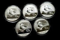 2014 CHINESE SILVER PANDA  LOT OF 5  COINS FINE SILVER IN GE