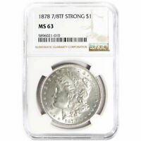 1878-7/8TF STRONG $1 MORGAN SILVER DOLLAR NGC MINT STATE 63 BROWN LABEL