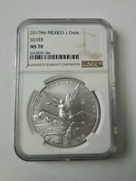 2017 MEXICO 1OZ SILVER ONZA LIBERTAD NGC MS70 BROWN LABEL