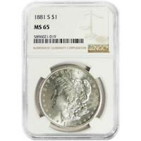 1881-S $1 MORGAN SILVER DOLLAR NGC MINT STATE 65 BROWN LABEL