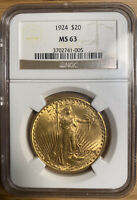 NGC MINT STATE 63 1924 SAINT GAUDENS DOUBLE EAGLE $20.00 GOLD