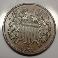 WOW  ABOUT UNCIRCULATED   TO UNC. 1867 TWO 2C CENT PIECE US TYPE COIN