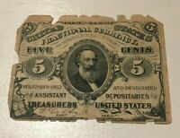 1863 UNITED STATES FRACTIONAL 5 CENTS NOTE   ROUGH EDGES   SPENCER CLARK