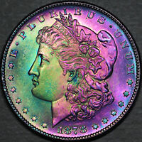 1878-S MORGAN DOLLAR $1 - GEM UNCIRCULATED - COLORFUL TONING