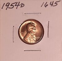 1954 D LINCOLN WHEAT CENT 1645, GEM - SHIPS FREE