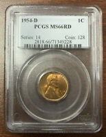 1954-D LINCOLN WHEAT CENT PCGS MINT STATE 66 RD