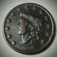 1830 LARGE LETTERS MATRON OR CORONET HEAD LARGE CENT COIN 1C