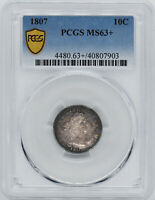 1807 DRAPED BUST 10C PCGS MINT STATE 63