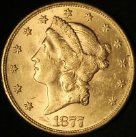 1877 S $20 GOLD LIBERTY DOUBLE EAGLE   TYPE III   NO RESERVE