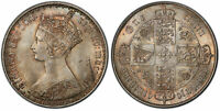 GREAT BRITAIN. VICTORIA 1862 AR GOTHIC FLORIN TWO SHILLINGS PCGS MS64 SCBC 3891