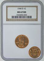 1944 D LINCOLN CENT - NGC CERTIFIED RD-67