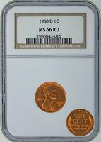 1950 D LINCOLN CENT - NGC CERTIFIED RD-66