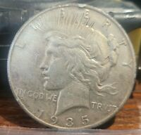 1935 S PEACE DOLLAR 90 SILVER RIM DING - STRONG AU/BU DETAILS - CLEANED  22