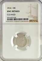 1914 10C BARBER DIME NGC UNCIRCULATED DETAILS