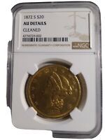 1872S $20 DOUBLE EAGLE GOLD COIN AU DETAILS CLEANED NGC 4774