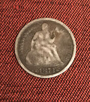 1873 SEATED LIBERTY SILVER DIME WITH ARROWS- CIRCULATED DIME-SHIPS FREE