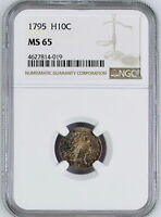 1795 FLOWING HAIR H10C NGC MINT STATE 65